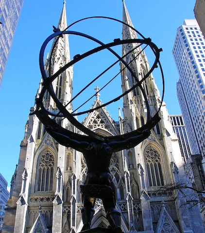 New York City Rockefeller Center Atlas Statue And St Patricks Cathedral